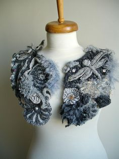 Freeform Fiberart Crochet Capelet Made To Order  By by crochetlab, $168.00