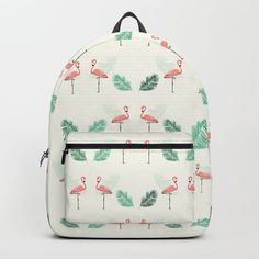 Pink Flamingo Seamless Tropical Pattern Backpack by diana_ioana D Craft, Tropical Pattern, Designer Backpacks, Pink Flamingos, One Size Fits All, Fashion Backpack, Laptop, Handle, Construction
