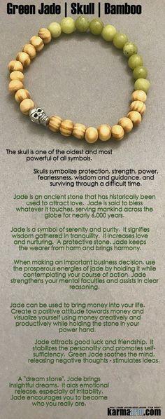 Jade attracts good #luck and #friendship. #Jade encourages you to become who you really are. #Skulls  #Beaded #Beads #giftsforhim #Bracelet #Bracelets #Buddhist #Chakra #Charm #Crystals #Energy #gifts #Handmade #Healing #Jewelry #Kundalini #LawOfAttraction #LOA #Love #Mala #Meditation #Mens #prayer #Reiki #Spiritual #Stacks #Stretch #Womens #Yoga #YogaBracelets #fertility #wisdom