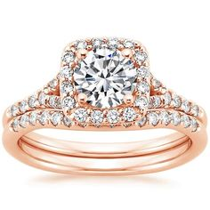 14K Rose Gold Harmony Diamond Ring Matched Set, top view