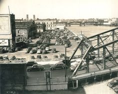 This was taken from the Portland Public Market in the 1930s.  You are looking North at the old Morrison Bridge and along the seawall.  Oregon State Archives.