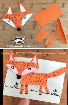 Excellent Absolutely Free Animal Crafts activities Suggestions Document denture dogs make the perfect children write idea. They are really simple reasonably priced and chil Fox Crafts, Animal Crafts For Kids, Winter Crafts For Kids, Paper Crafts For Kids, Preschool Crafts, Crafts To Make, Paper Crafting, Easy Crafts, Art For Kids