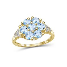 2 1/4 Carat T.G.W. Sky Blue Topaz And White Diamond Accent 14kt Gold Over Silver Fashion Ring, Women's, Size: 8, Metal Type Aquamarine Birthstone Ring, Country Rings, Blue Topaz Ring, Types Of Metal, Fashion Rings, Jewels, Engagement Rings, Diamond, Silver