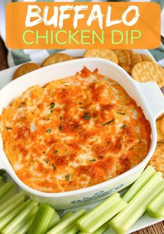 This is the best Buffalo Chicken Dip (with VIDEO) is an easy 5 ingredient recipe for your next party. Creamy, cheesy and tastes like buffalo chicken wings dipped in ranch dressing. #dip #appetizer #buffalochickendip #buffalochicken