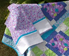 Lantern and Cherry Blossoms Quilt & 2 Pillow Cases by EQuiltShop Aqua Fabric, Cotton Fabric, Oriental Design, Full Bed, Quilt Bedding, Pincushions, Cherry Blossoms, Mild Soap, Make And Sell