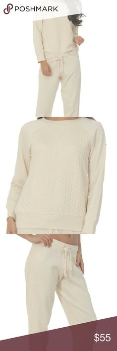 Steve Madden Angora Cable Knit Lounge Top & Pants NWT. French Terry cloth set. Top has cable knit design in the front and the pants had cable knit down the sides of the legs. Very soft and comfortable. Steve Madden Intimates & Sleepwear Pajamas