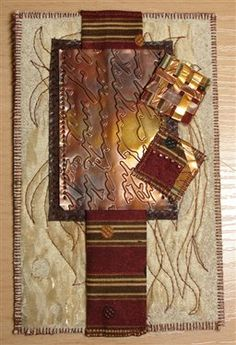 Mixed media post card with burn out fabric, hand dying, free motion, embossed and flame kissed metal Fabric Postcards, Fabric Cards, Small Quilts, Mini Quilts, Postcard Art, Postcard Size, Collages, Art Trading Cards, Artist Card