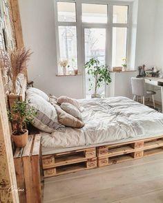 #palletbed #palletbedframe #palletbedframe #palletbedroom #palletbedhead #palletbedsidetable #palletbedbase #bedroom #palletfurniture #pallets #bedroomdecor #bedroominspo Wooden Pallet Beds, Pallet Bed Frames, Diy Pallet Bed, Wooden Bedroom, Pallet Ideas, Room Ideas Bedroom, Bedroom Layouts, Long Bedroom Ideas, Crate Bed