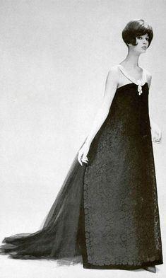 Simone in a dress by Yves Saint Laurent for Christian Dior. Photo Guy Arsac 1959.