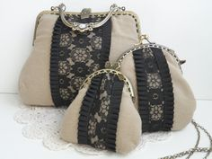 Conjunto de bolsos y cartera vintage con encaje. www.lolitasala.es