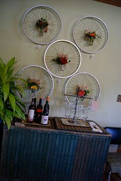 recycled bike wheel wall art...oh-ho! So THAT's what all those wheels in my garage are! GREAT idea!!!!