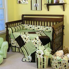 baby boy nursery themes | Trend Lab Versailles Black & White 4 Piece Crib Bedding Set
