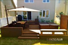 Patio Plus - Hot tub Decks Small Backyard Decks, Small Patio, Small Yards, Backyard Patio Designs, Backyard Landscaping, Patio Ideas, Simple Deck Ideas, Backyard Ideas, Simple Diy