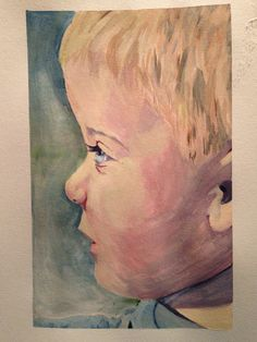 First attempt at #watercolor #portraiture! Very excited about the outcome! Can't wait to do a few more of these to prep for a large portrait of my son! Size= 8x5