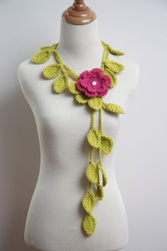 Crocheted Grass Green Leaf Necklace with Pink by HandmadeByLarrie, $14.99