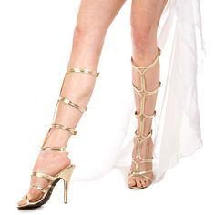 Sexy Adult Golden Strap High Heeled Sandals