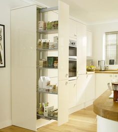 Full-Height Pull-Out Larder & - Storage Solutions - Accessories - Kitchen Collection - Howdens Joinery Kitchen Collection, Kitchen Design, Larder Cupboard, Kitchen Plans, Diy Kitchen Backsplash, Kitchen Family Rooms, Kitchen Pulls, Kitchen Cupboards, Kitchen Storage
