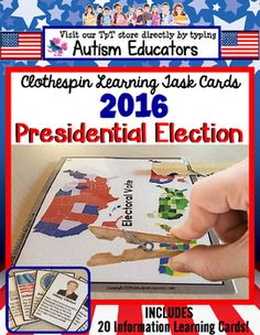 What an election year this is! Help your students learn about the candidates and key visual vocabulary related to electing a new President of The United States of America with 20 Information Learning Cards and 20 Picture Matching Task Cards. Excellent Social Studies activity for Autism, Special Education, Kindergarten and First Grade!