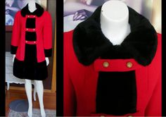 Vintage 1950s 1960s Red Wool Russian Princess Coat Military Inspired with Black Faux Fur Trim by WestCoastVintageRSL, $105.00