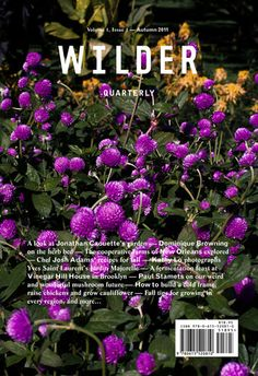 Wilder is a quarterly publication focusing on gardening and horticulture as well as food. Inside their first issue, you'll find a piece on gardening by Dominique Browning, fall recipes by Josh Adams, as well as advice for different gardening zones, canning and preserving your harvest, and more.   $59.99 for a year's subscription at Wilder