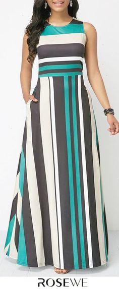 Stripe Print Pocket Zipper Back Sleeveless Maxi Dress