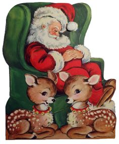 Sleepy Santa Vintage Christmas Graphic