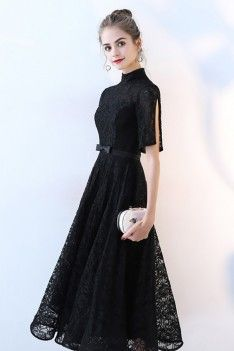 Shop Black Lace High Neck Aline Party Dress with Sleeves online. SheProm offers formal, party, casual & more style dresses to fit your special occasions. Modest Dresses, Simple Dresses, Cute Dresses, Semi Formal Dresses Modest, Girls Formal Dresses, Party Dresses With Sleeves, Black Dress With Sleeves, Short Sleeves, Batik Dress