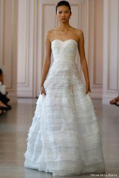 Textured A line wedding dress   Oscar de la Renta Bridal Spring 2016 Wedding Dresses via @weddingi