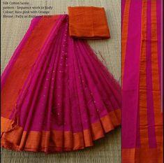 Maneeti Silk cotton saree...Sequin body.. Whatsapp 9539820656  #maneeti #sequin #silkcotton