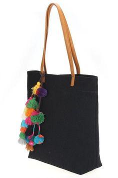 Cabo Tassel Pom Pom Large Tote Bag - Jess Lea Boutique - 4