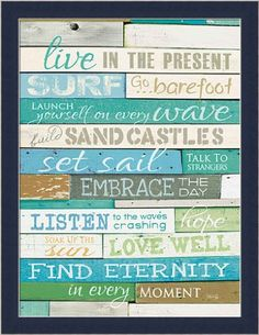 Live in the Present by Marla Rae Turquoise Beach Sign Fra...