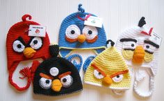 Mood Breaker aka Red Angry Bird Hat with Earflaps by RuffledEdges