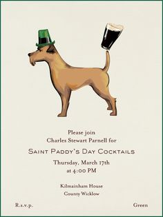 """Irish Terrier"" Invitation, Paperless Post. Fancy a Guinness?"