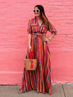 BOHO Button Down Collar Stripes Roll Up Sleeve Maxi Vacation Dresses - Fashion Store Maxi Shirt Dress, Maxi Dress With Sleeves, The Dress, Short Sleeve Dresses, Long Sleeve, Vacation Dresses, Summer Dresses, Outfits Fiesta, Mode Hippie