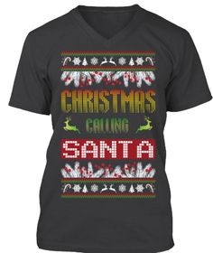 Christmas Calling Santa Dark Grey Heather T-Shirt Front