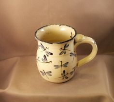 Pottery Mug painted in Dragonfly  01 by TallPinesPottery on Etsy, $16.00