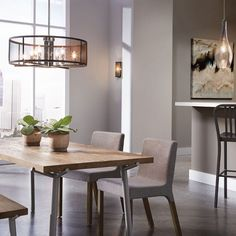 Dining Room Pendant Green Plant Flower Pot Grey Dining Chair Wooden Dining Table Black Bar Stool Sconce Glass Window Painting White Wall Kitchen Bar Lights and Lighting: Dining Room Light