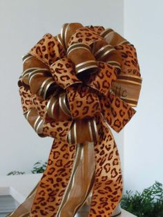 Brown Copper Leopard Christmas Tree Bow Leopard Decorative Bow by greentraderllc,