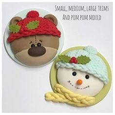 Christmas Cupcake Cake, Christmas Cake Designs, Christmas Cake Decorations, Christmas Sweets, Christmas Minis, Christmas Baking, Christmas Cookies, Polymer Clay Ornaments, Polymer Clay Christmas