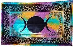"Triple Moon Tye Dye Tapestry, Coverlet 54"""" X 86"""""