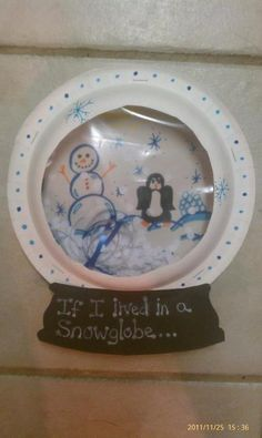 If I lived in a snow globe... two paper plates, a ziplock bag, hole punches and construction paper.