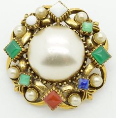 Vintage FLORENZA BROOCH PIN Pearl Rhinestone Gold Tone Domed Huge Signed
