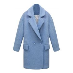 Winter Solid Color Wool Blend Cocoon Coat (880.305 IDR) ❤ liked on Polyvore featuring outerwear, coats, double breasted coat, collar coat, blue double breasted coat, long sleeve coat and cocoon coat