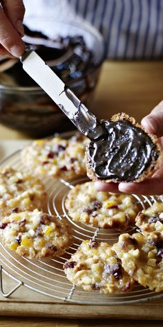 Crisp, chewy, fruity, almondy, chocolately - florentines are almost too posh to be called a biscuit. Mary Berry shows you how to make them (and you) shine. (cake making mary berry) Florentines Recipe, Mary Berry Florentines, Florentine Cookies, British Baking Show Recipes, English Food, English Recipes, Great British Bake Off, Biscuit Recipe, Cookie Recipes