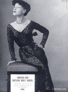 Christian Dior 1951 black dinner dress, Photo Philippe Pottier
