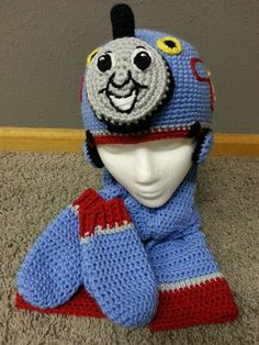 NEW Crochet Tommy the Train Hat Scarf and Mitten Set - pinned by pin4etsy.com