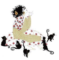 Magical Illustrations by Sveta Dorosheva… images) Alphonse Mucha, Crazy Cat Lady, Crazy Cats, Art Deco Artists, Black Cat Art, Black Cats, Freelance Illustrator, Female Art, Cute Art