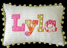 Chenille applique name pillow