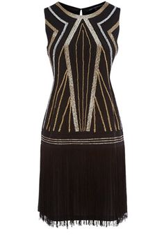 A stand out piece from our collection, this black and gold embellished flapper dress has fringe detailing to the skirt and has a drop style waist. In a stretch material that simply slips over the head, this piece is sleeveless in style and has embellisment to the front.