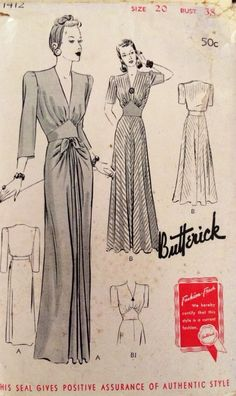 1930's Vintage Long Sleek Art Deco Evening Gown Butterick Sewing Pattern 1412 | eBay